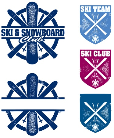 ski resort: Ski & Snowboard Club Stamps Illustration