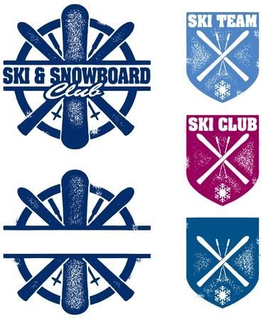 Ski & Snowboard Club Stamps Ilustração