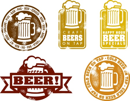 Vintage Style Beer Stamps Stock Vector - 11376428