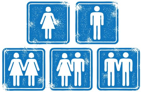 People and Couple Signs Illustration