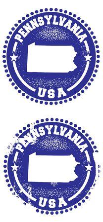 pennsylvania: Pennsylvania Stamps Illustration