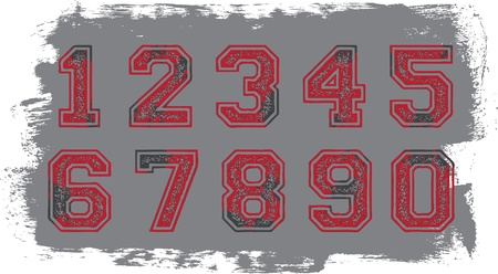 Distressed Athletic Numbers Stock Vector - 11602845