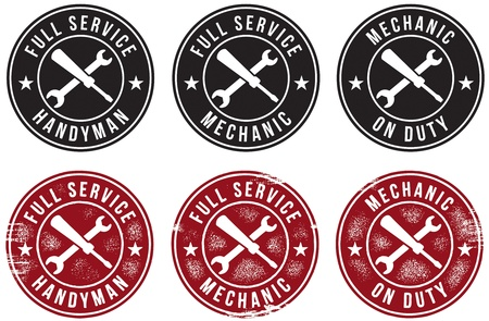 auto service: Mechanic & Handyman Stamps Illustration