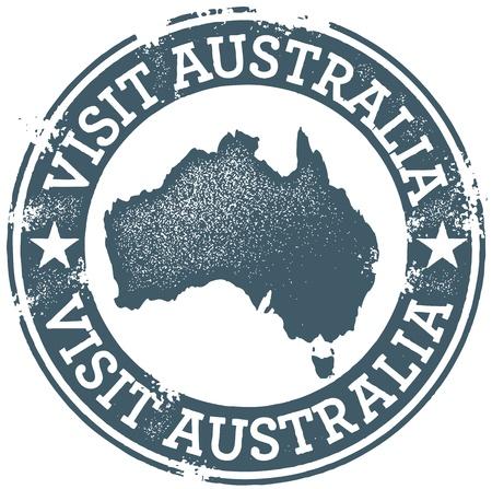 stempel reisepass: Jahrgang Visit Australia Stamp Illustration