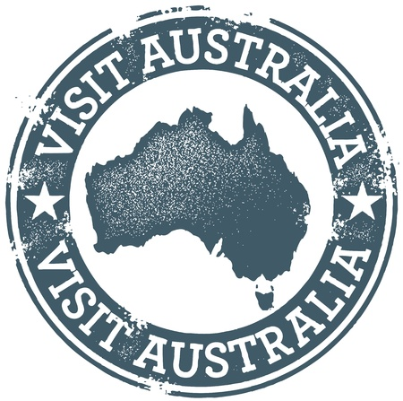 passport: Vintage Visit Australia Stamp Illustration