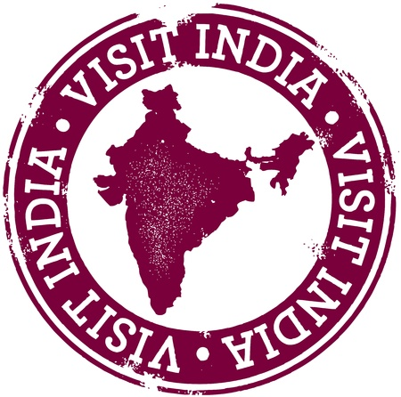 stempel reisepass: Jahrgang Visit India Stamp