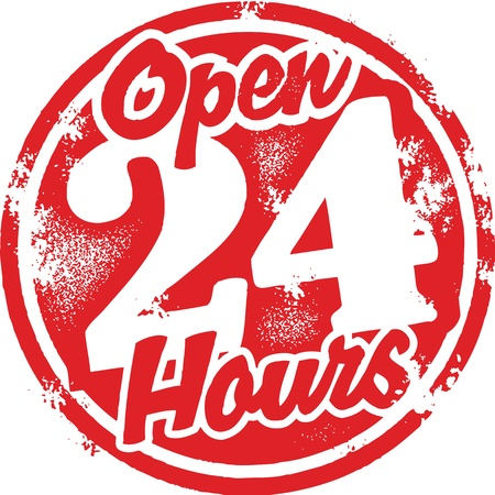 rubber: Open 24 Hours Stamp Illustration