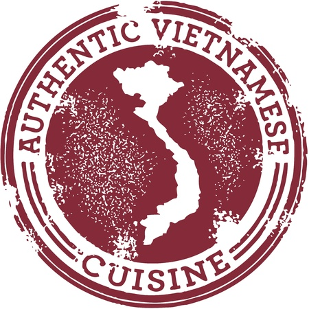 vietnam: Classic Authentic Vietnamese Food Stamp Illustration