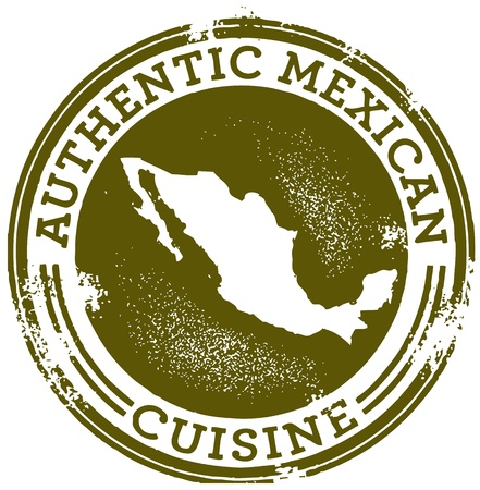 mexican food: Cl�sica, sello Authentic Mexican Food Vectores