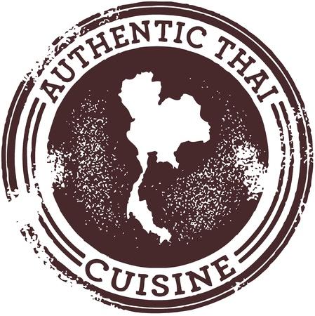 authentic: Classic Authentic Thai Food Stamp Illustration