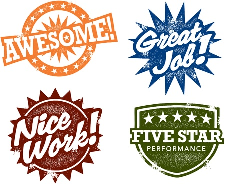 Great: Awesome Work Stamps Illustration