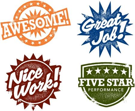 felicitaciones: Sellos Impresionante trabajo Vectores