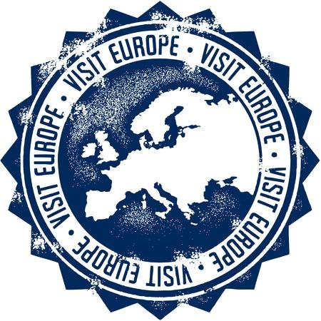 Visit Europe Stamp Illustration