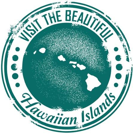 hawaiana: Visita Hawaii sello Vintage Vectores