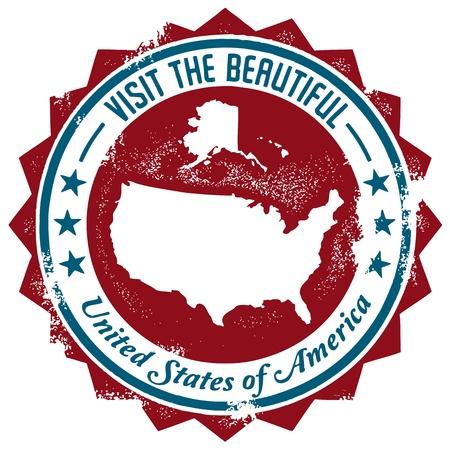 Vintage United States Travel Stamp