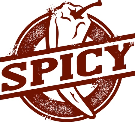 Spicy Chili Pepper Stamp Vector