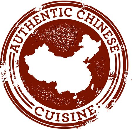 Classic Authentic Chinese Food Stamp Vector