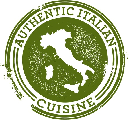 restaurante italiano: Cl�sica, sello, aut�ntica comida italiana Vectores