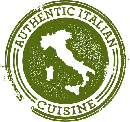 restaurante italiano: Clásica, sello, auténtica comida italiana Vectores