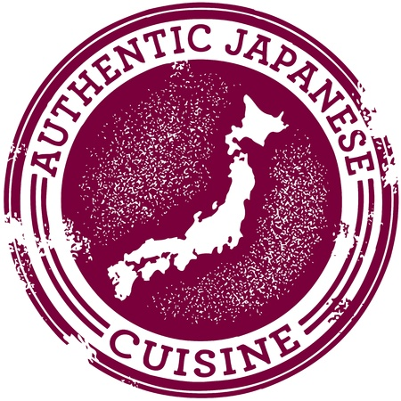 클래식 정통 일본 푸드 스탬프 일러스트