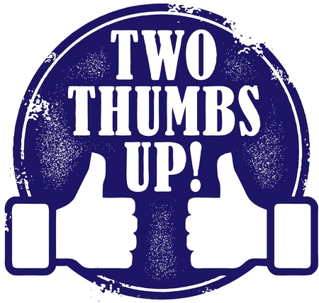 reviews: Two Thumps Up Stamp Illustration