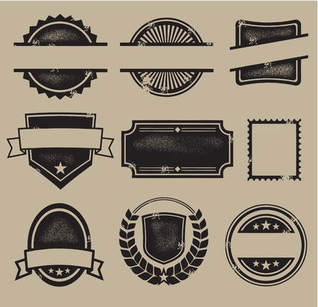 Blank Vintage Crests, Seals and Stamps Vector