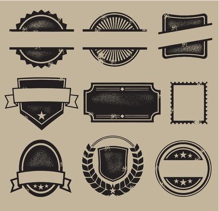 vintage etiket: Blank Vintage Kammen, zegels en stempels