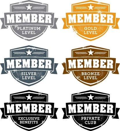 gold silver bronze: Membership Badges