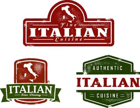 Vintage gráficos Italian Restaurant Ilustración de vector