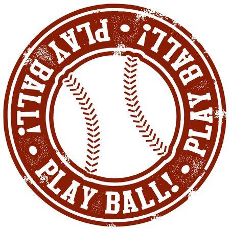 Vintage Play Ball Baseball Stamp