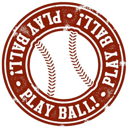 Vintage Play Ball Baseball Stamp Stock Vector - 12956996