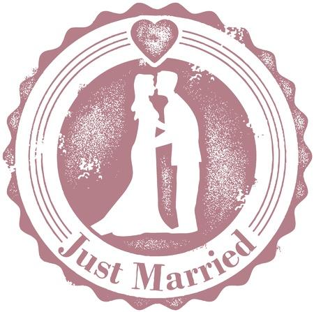 feleségül: Vintage Just Married Esküvő Stamp
