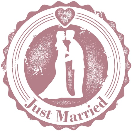 Vintage Just Married Wedding Stamp Vector