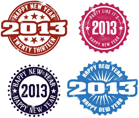 Happy New Year 2013 Stamps Stock Vector - 12957004