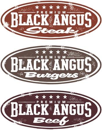 beef steak: Vintage Style Black Angus Beef Steak Sellos Vectores