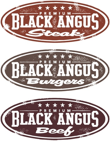Vintage Style Black Angus Beef Steak Stamps Vector