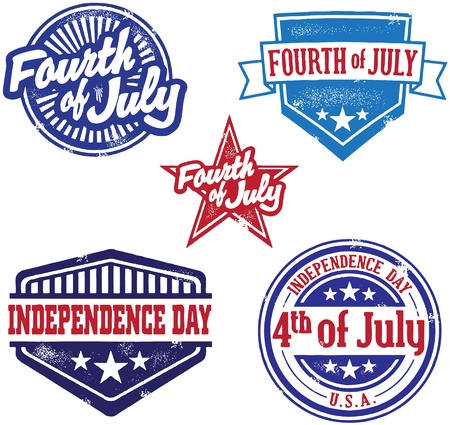 fourth of july: IV stile Vintage Stamps Independence Day di Luglio Vettoriali