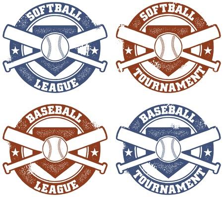 Baseball and Softball League Tournament Stamps Stock Vector - 13846305