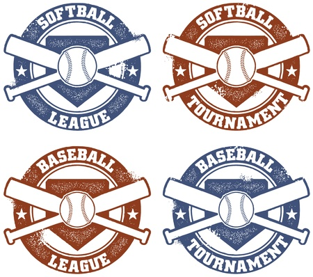 bat and ball: Baseball and Softball League Tournament Stamps Illustration