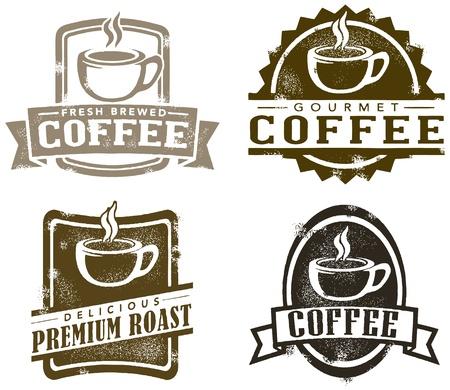 bönor: Tappning utformar Kaffe frimärken Illustration
