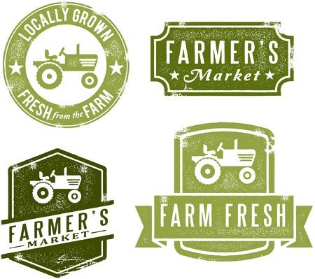traktor: Vintage Style Farmers Market Briefmarken