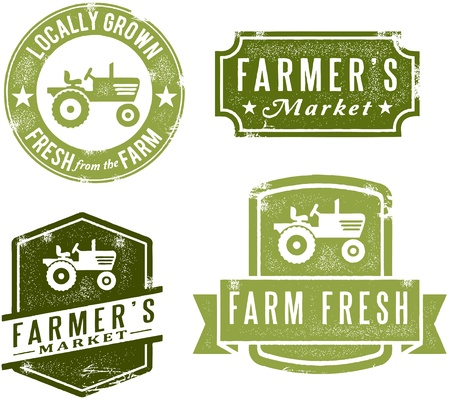 Vintage Style Farmers Market Stamps Stock Vector - 13846304