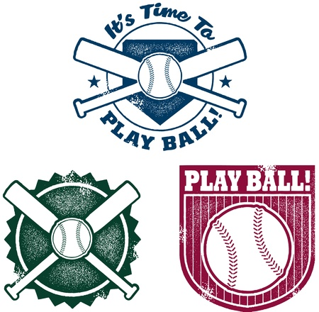 crossed: Vintage Style Baseball or Softball Stamps