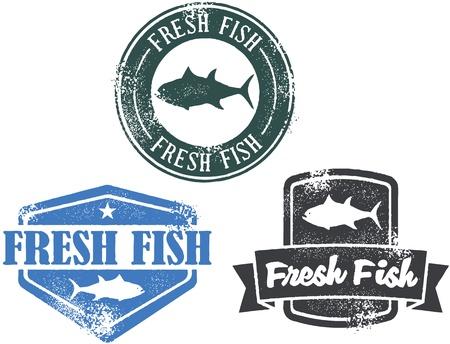 Vintage Style Fresh Fish Postzegels Stock Illustratie