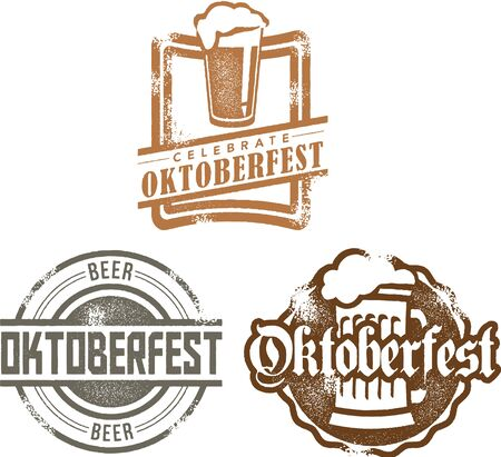 octoberfest: Vintage Style Oktoberfest Beer Stamps Illustration