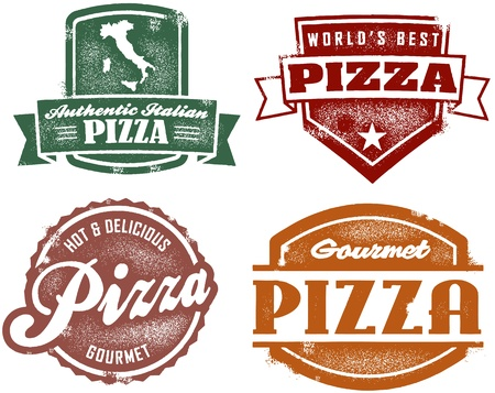 Vintage Style Pizza Stamps Stock Vector - 13846307