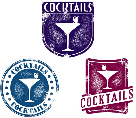 gin: Vintage Style Cocktail Bar Stamps Illustration