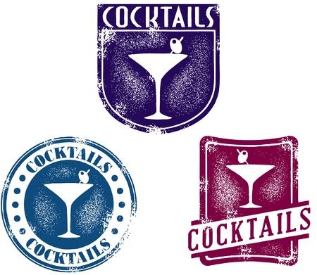 bar: Vintage Style Cocktail Bar Stamps Illustration