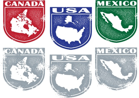 Vintage Style North American Crests Stock Vector - 13846308