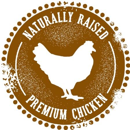 Vintage Style Natural Chicken Stempel Standard-Bild - 13864866